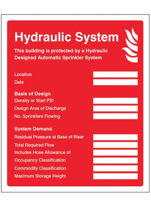 Hydraulic Sprinkler System Id Plate Sign Safety Signs