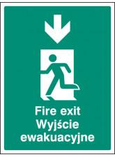 Fire Exit Arrow - Down (English / Polish)