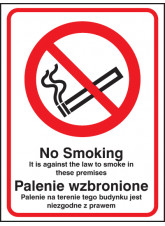No Smoking it Is Against the Law to Smoke in Premises (English / Polish)