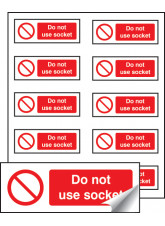 10 x Do Not Use Socket Labels - 40 x 18mm