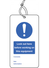 Lockout Tag - Lock Out Here Before Working On - 80 x 150mm (Pack of 10)