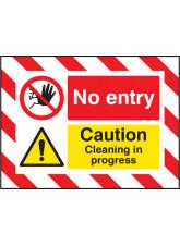 Door Screen Sign - No Entry Caution Cleaning in Progress