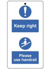 10 x Keep to the Right & Use the Handrail - Double Sided Safety Tags