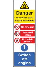 Petroleum Spirit Highly Flammable (Multi-Message) 200 x 600mm
