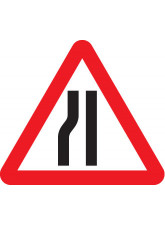 Fold Up Sign - Road Narrows Left with Text Variant Options - 750mm Triangle