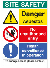 Asbestos Site Safety Board with Contact Details - 1mm PVC - 600 x 900mm